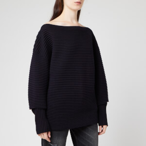 Victoria, Victoria Beckham Women's off Shoulder Ottoman Jumper - Midnight Blue