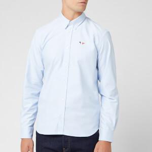 Maison Kitsuné Men's Oxford Tricolor Fox Patch Classic Shirt Bd - Light Blue