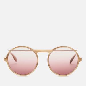 Alexander McQueen Men's Metal Round Frame Sunglasses - Havana/Gold