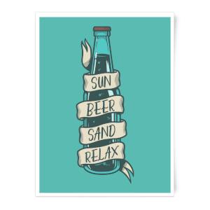 Sun Beer Sand Relax Art Print