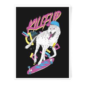 Kickflip Wolf Art Print