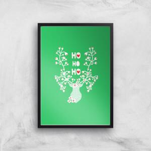 Ho Ho Ho Reindeer Art Print