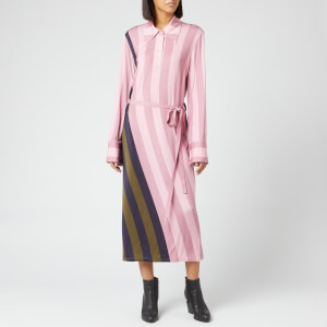 JW Anderson Women's Warped Stripe Print Polo Dress - Light Pink