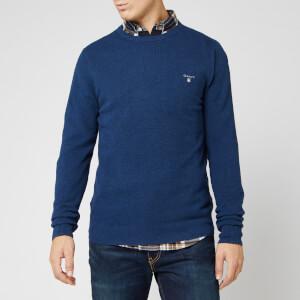 GANT Men's Cotton Pique Crew Sweatshirt - Marine Melange