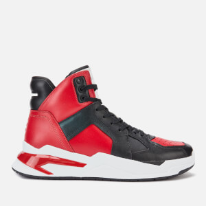 Balmain Men's B Ball Calf Skin Trainers - Red/Black