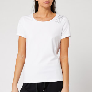 Emporio Armani EA7 Women's Small Logo Sparkle T-Shirt - White