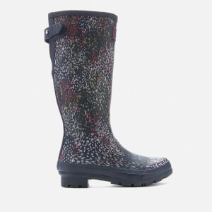 Joules Women's Welly Print Back Adjustable Tall Wellies - Navy Rain