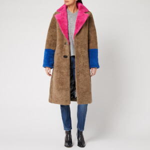 Saks Potts Women's Febbe Bold Shearling Coat - Beige/Pink/Strong Blue