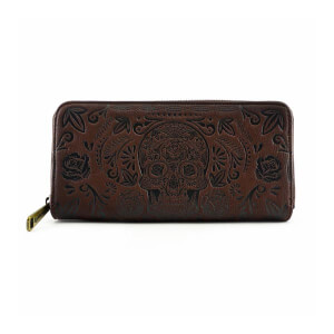 Loungefly Sugar Skull Brown Zip Around Wallet