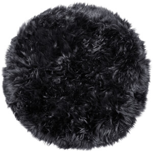 Royal Dream 100% Round Sheepskin Rug - Black