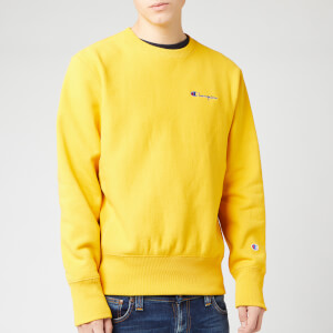 Champion Men's Small Script Sweatshirt - Yellow