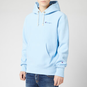 Champion Men's Small Script Hooded Sweatshirt - Pale Blue