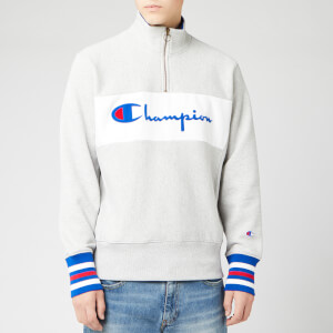 Champion Men's Big Script Half Zip Sweatshirt - Grey Marl