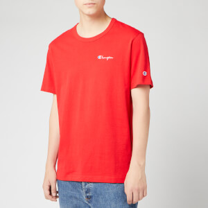 Champion Men's Small Script Crew Neck T-Shirt - Red