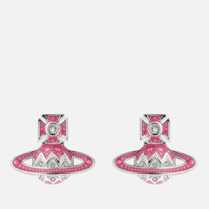Vivienne Westwood Women's Aretha Bas Relief Earrings - Rhodium Crystal Pink