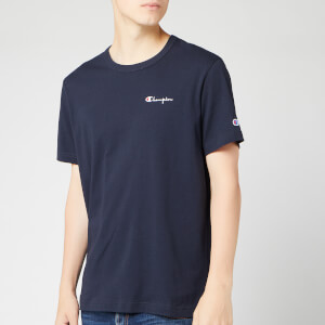 Champion Men's Small Script Crew Neck T-Shirt - Navy