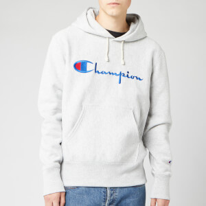 Champion Men's Big Script Hooded Sweatshirt - Grey Marl