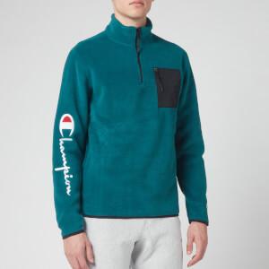 Champion Men's Sleeve Script Half Zip Top Sweatshirt - Green