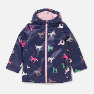 Joules Girls' Raindance Showerproof Rubber Coat - Navy Horses