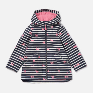 Joules Girls' Raindrop Hooded Rain Coat - Pink Stripe Horse