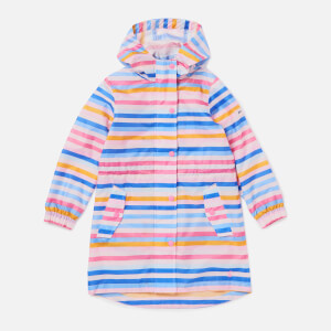 Joules Girls' Go Lightly Longline Rain Jacket - Cream Multi Stripe