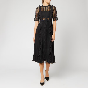 Self-Portrait Women's Black Geometric Lace Midi Dress - Black