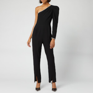 Self-Portrait Women's One Shoulder Crepe Jumpsuit - Black