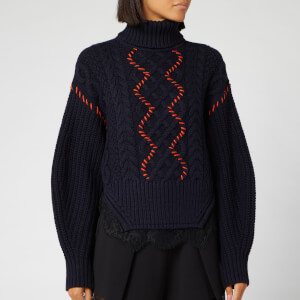 Self-Portrait Women's Knit and Lace Trim Jumper - Navy