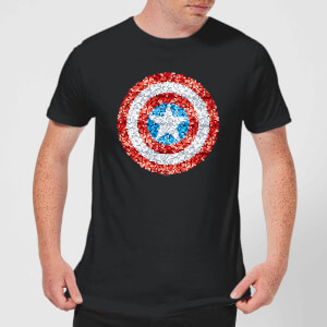 Marvel Captain America Pixelated Shield Men's T-Shirt - Black