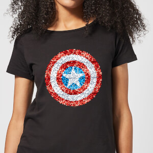 T-Shirt Marvel Captain America Pixelated Shield - Nero - Donna