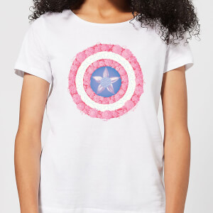 T-Shirt Marvel Captain America Flower Shield - Bianco - Donna