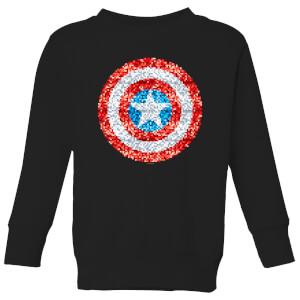 Felpa Marvel Captain America Pixelated Shield - Nero - Bambini
