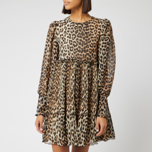Ganni Women's Pleated Georgette Mini Dress - Leopard