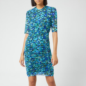 Ganni Women's Printed Mesh Dress - Azure Blue