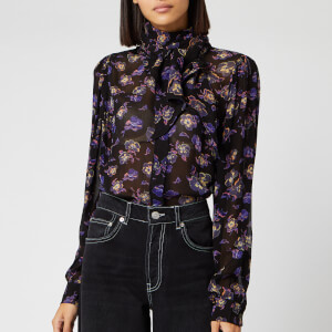 Ganni Women's Printed Georgette Blouse - Black
