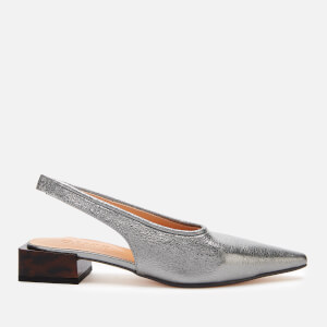 Ganni Women's Sling Back Block Kitten Heels - Dark Silver