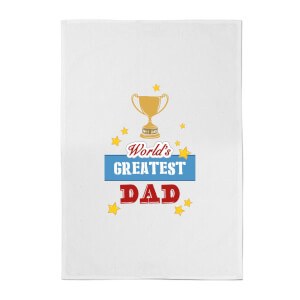 World's Greatest Dad With Trophy Cotton Tea Towel