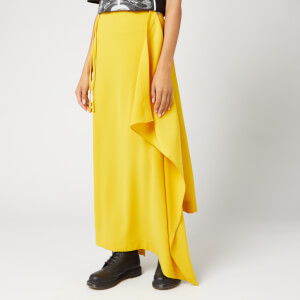 McQ Alexander McQueen Women's Midi Drape Drawstring Skirt - Gold Yellow