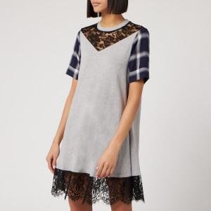McQ Alexander McQueen Women's Check Hybrid Babydoll Dress - Grey Check