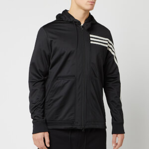 Y-3 Men's 3 Stripe Hooded Track Top - Black/Ecru