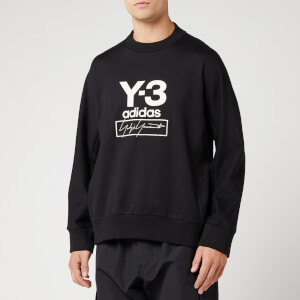 Y-3 Men's Stacked Logo Crew Neck Sweatshirt - Black
