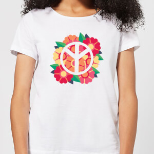 Peace Symbol Floral Women's T-Shirt - White