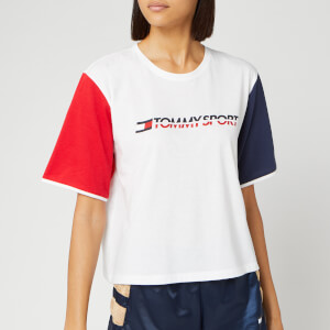 Tommy Sport Women's Colourblock Logo T-Shirt - PVH White