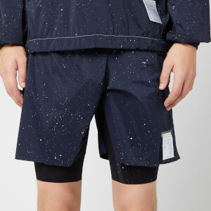 "Satisfy Men's Trail Long Distance 10"" Shorts - Navy Silk Splattered"