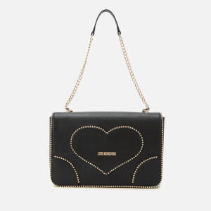 Love Moschino Women's Stud Heart Logo Bag - Black