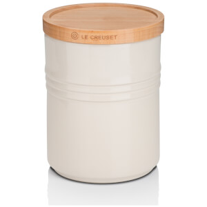 Le Creuset Stoneware Medium Storage Jar with Wooden Lid - Almond