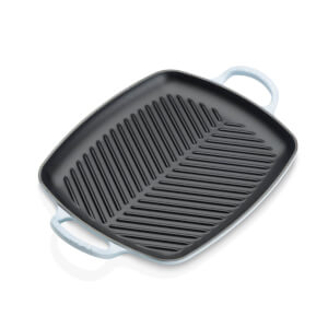 Le Creuset Signature Cast Iron Shallow Rectangular Grill - 30cm - Coastal Blue