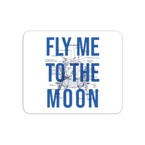 Fly Me To The Moon Blue Print Mouse Mat