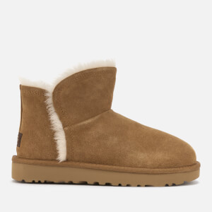UGG Women's Classic Mini Fluff Trim Sheepskin Boots - Chestnut