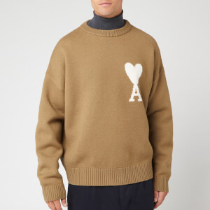 AMI Men's Oversized Heart Knit Jumper - Beige